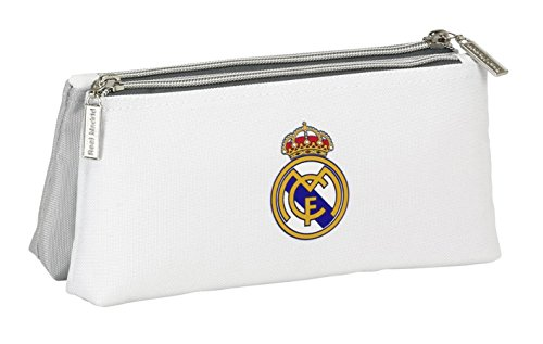 safta- Real Madrid-Neceser pequeño Doble 811624548, Color Blanco y Gris, 22 cm (