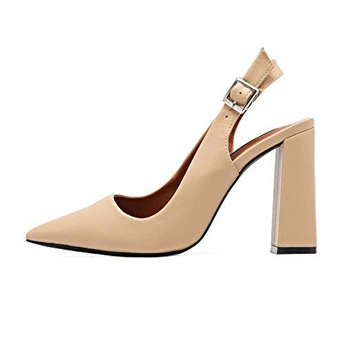 LvYuan-mxx Sandales pour femmes / été et printemps / rétro PU / Chunky Talon / pointe pointu bouche superficielle / Bureau & Carrière / Vêtements / Casual / chaussures à talons hauts APRICOT-37