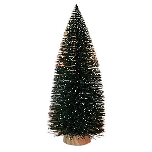 Qiterr Mini Weihnachtsbaum Schnee Frost Bäume mit Holzsockel (1 Stück) DIY kleine Kiefer Room Decor Home Tischplatte am besten für Schreibtisch winzige Ornamente(29cm Christmas Tree)