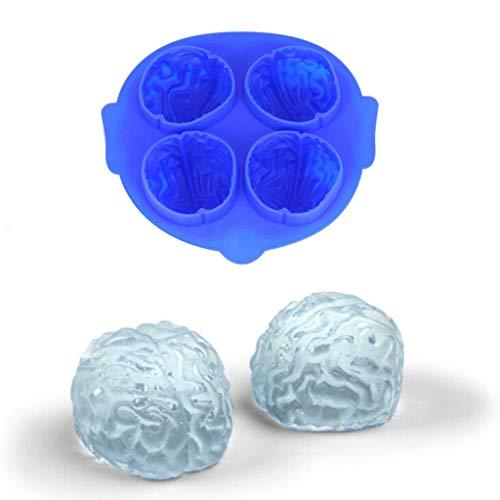 Dkings Gehirn Silikon Eiswürfelschale Neuheit Halloween Brain Schokoladenform Eiswürfel Partei Form,3D Gehirn Eiswürfelform Silikon Eiswürfelschale Seifenschale Gehirn Jello-Form für Halloween-Party