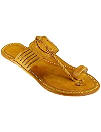 KORAKARI Men's Handcrafted Pure Leather Kolhapuri Chappal (Yellow)