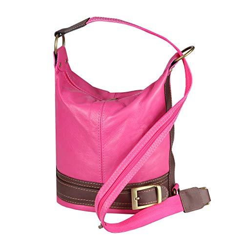 OBC Damen echt Leder Rucksack Schultertasche Stadtrucksack Backpack Lederrucksack Cityrucksack Organizer Daypack Echtleder Ledertasche Tablet bis ca. 8 Zoll Pink-Braun