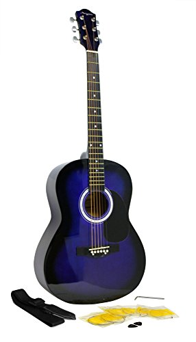 Martin Smith W-100 Acoustic Guitar Package with Strings, Plecs, Strap - Blue