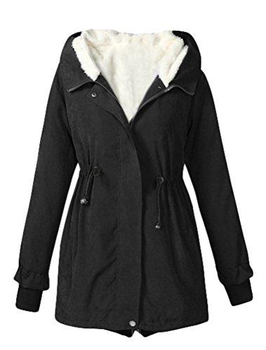 MatchLife Femme Manteau d'hiver avec Capuche Parka Encapuchonnée Intérieur Polaire Noir-L