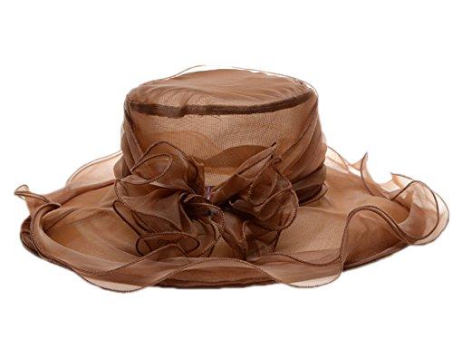 Hibasing Frauen Kirche Kentucky Hat, Derby Gaze Hut Party Hochzeit Breiter Krempe Hut