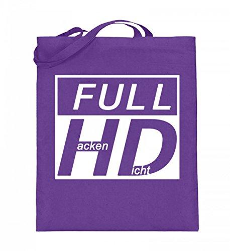 Hochwertiger Jutebeutel (mit langen Henkeln) - Full HD - Hacke Dicht Violett