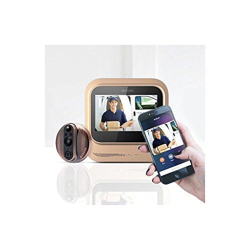 Del-Mundo-Ms-Inteligente-de-vdeo-timbre--Eques-veiu-batera-puerta-cmara-Peephole-Viewer-para-su-seguridad-en-el-hogar--Wi-Fi--visin-nocturna--grande-LED-pantalla-tctil--iOS-y-Android