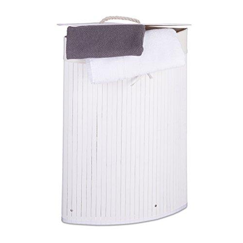 Relaxdays Eckwäschekorb Bambus HxBxT: ca. 65 x 49,5 x 37 cm faltbare Wäschetruhe eckig mit einem Volumen von 64 L mit Wäschesack aus Baumwolle zum Herausnehmen für Ecken und Nischen im Bad, weiß