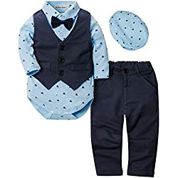 ZOEREA 4pcs Ropa Bebe niño Conjuntos Camisas de Manga Larga + Chaleco + Pantalones + Boina, Infantil niños Trajes Conjunto de Fiesta Boda Bautizo Etiqueta 80