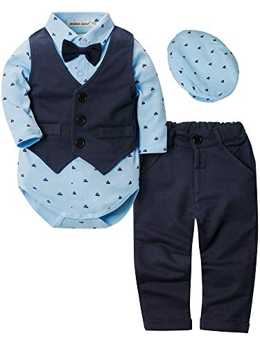Zoerea Baby Jungen Strampler Kleidung Set Hosen Fliege Anzug mit Hut Cute Jumpsuit Outfit Body,Größe 80