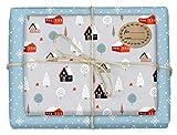 4x Geschenkpapier Weihnachten + 4 Geschenkaufkleber: hochwertig beidseitig bedruckte Bögen Weihnachtsgeschenkpapier