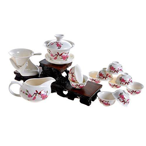 ufengke-ts 13 Stück Chinesische Kung Fu Keramik Tee Set, Pfirsichblüte Muster Vintage Teeservice, Geschenk Für Tee-Liebhaber, Haushalt, Büro