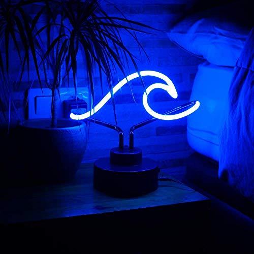 Flamingueo Hana - Cartel Neon, Letrero Neon, Lampara Neon con forma de Ola, Luces Neon 100% no Lampara LED, Azul, 30x15 cm (Azul Ola)