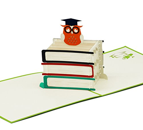 Fröhliche Karte für Abschluss & Prüfung - 3D Pop-Up Prüfungskarte mit schlauer Eule für Aufmunterung Glückwunsch & Gratulation - hochwertige Klappkarte zum Studium Doktor Abitur & Examen