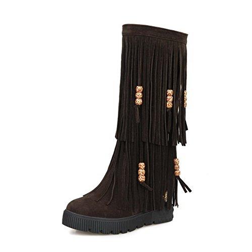 AllhqFashion Damen Rund Zehe Ziehen auf Mittler Absatz PU Leder Mittler Kalb Stiefel, Rot, 37