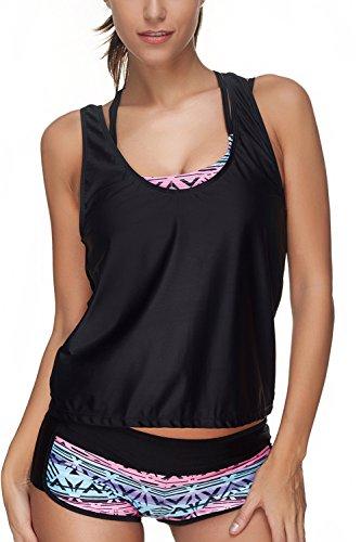 ALICECOCO Damen Sportlich Bunt Sommer Yoga Fitness 3-Teilig/Zweiteilig Tankinis mit Shorts Strand Bikini Set mit Top (Kaleidoskop, EU 44-46 ( 3XL ))