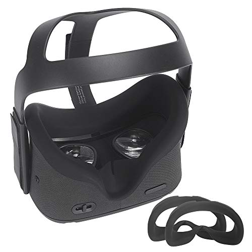 Carplink 2 Pcs VR Maske für Oculus Quest VR Gaming Headset Silikon-Schutzhülle Hygiene Gesichtsmaske VR Masken VR Face Cover für Oculus Quest Schwarz