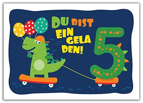 12 Einladungskarten zum 5. Kindergeburtstag Jungen Jungs Dinosaurier Einladungen fünfte Geburtstag Kinder