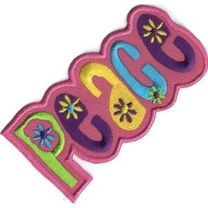 (Aufnäher Bügelbild Aufbügler Iron on Patches Applikation Love Liebe Peace Hippie Pink)