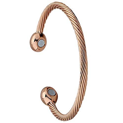 HMKLN New Gold Knoblauch Armband Kupfer vergoldet Armband Magnet Gesundheitswesen Armband Magnetic Twist Männer Frauen Armreif Geschenk Schmuck (Knoblauch-matte)