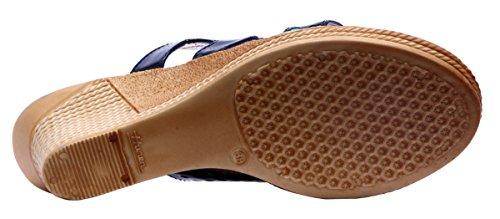 Sammy ouvert orteil Sandale bout ouvert chaussures de sport des femmes Noir et bleu Aqua