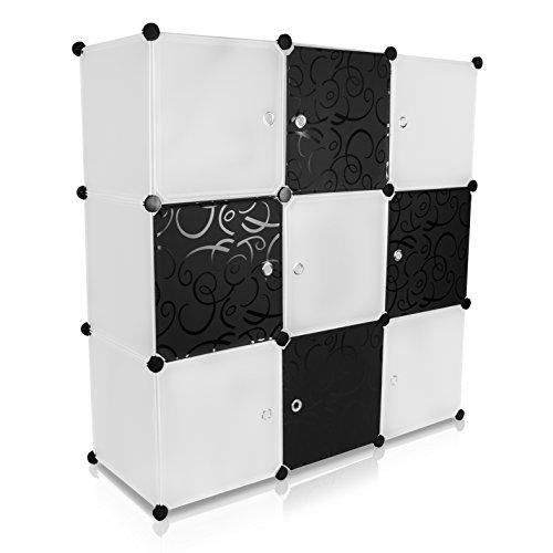 Grinscard Universal Steckschrank - Set aus 9 Modulfächern, Schwarz/Weiss - Frei gestaltbares DIY Regalsystem