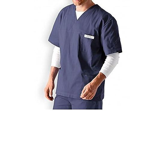 Unisexe en Coton Medical Veste pour homme Gommage Tunique les médecins de dentiste de travail bleu bleu marine foncé L