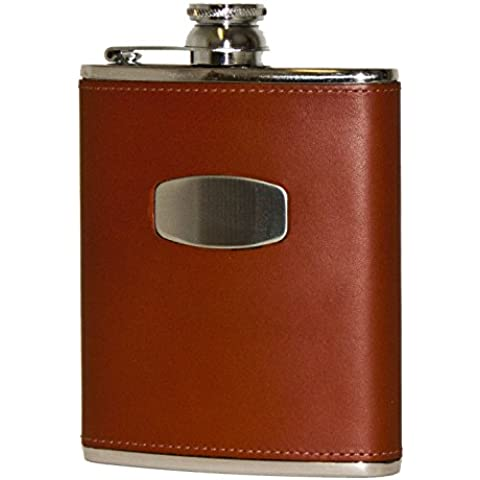 Bisley Hip Flask 6oz Brown leather stainless steel - Brown Flask