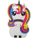iPhone 4 / 4S Funda, BENKER Imágenes de Dibujos Animados en 3D de Alta Calidad de Silicona Carcasa de Telefono - Rainbow Unicornio