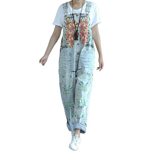SiDiOU Group Damen Casual Printed Baggy Hose Weite Bein Latzhosen Spielanzug Jumpsuit Spielanzug (One Size, Style 2-Hellblau)
