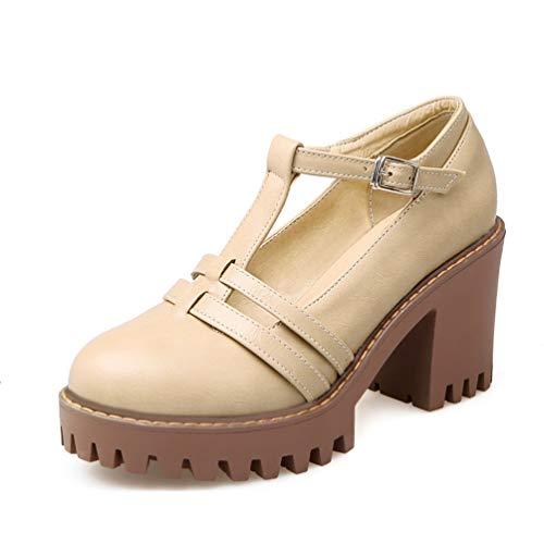 Chaussures Femmes Retro Boucle Ronde Toe Pompes à Talon carré Talons élégants Escarpins