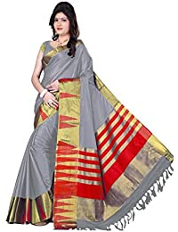 Sr Cotton Saree With Blouse Piece (_Grey_Free Size)