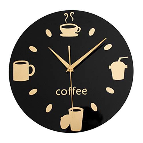 VORCOOL Miroir 3D Tasse À Café Ronde Horloge Murale Restaurant Cuisine Muet Décoratif Sticker Mural Horloge Art Horloge Murale Diamètre 20 CM (Fond Noir Or)