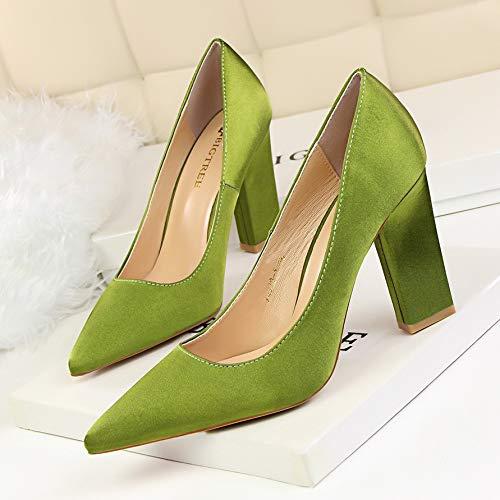 HOESCZS Mode einfach dick mit hohem Absatz flachen Mund wies Nachtclub war dünn Satin Einzelne Schuhe High Heels, Jade grün,35EU (Heels Jade)