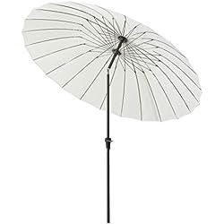 Outsunny Parasol inclinable Rond avec manivelle Aluminium Fibre de Verre Polyester diamètre 2,6 m Coloris crème