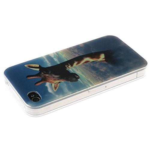 iPhone 4s Coque, MOONCASE iPhone 4s Cover Case Fit Soft Silicone Housse avec Coque de Protection en TPU Etui pour iPhone 4s - DD14 Série Colore - DD09