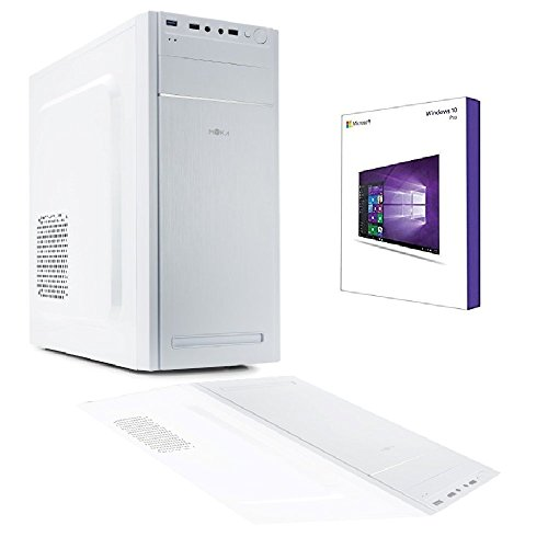 White Easy PC Desktop Intel Quad Core licencia Windows 10 Professional 64 bit Case ATX Myka cl-06 USB 3.0/RAM 8 GB/HD 1TB/WiFi/entradas HDMI DVI VGA 500 W completo Pronto al uso rápido uso Oficina Casa Internet social network
