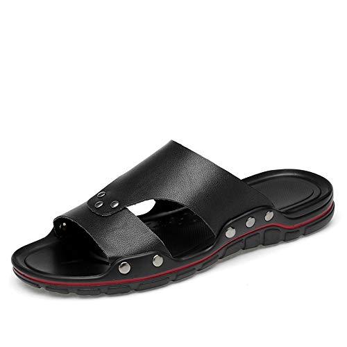 Apragaz Herren-Sandalen Offene spitze Schuhe Atmungsaktiv Rutschfeste Niet Verstärkung Sommer Strand Schuhe Leichte Verschleißfeste Hausschuhe (Color : Schwarz, Größe : 40 EU) - Spitze Männliche Thong