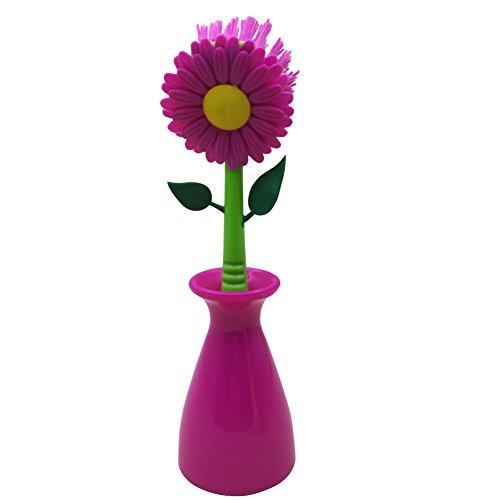 Nuobo Sonnenblumen-Küche-Werkzeug, multi-funtion Dish Waschen Bürste Badezimmer Gadgets rosarot (Sonnenblume Produkte)