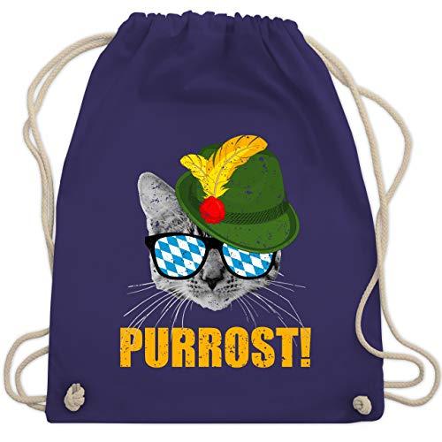Oktoberfest Beutel - Purrost! Bayrische Katze - Unisize - Lila - WM110 - Turnbeutel & Gym Bag
