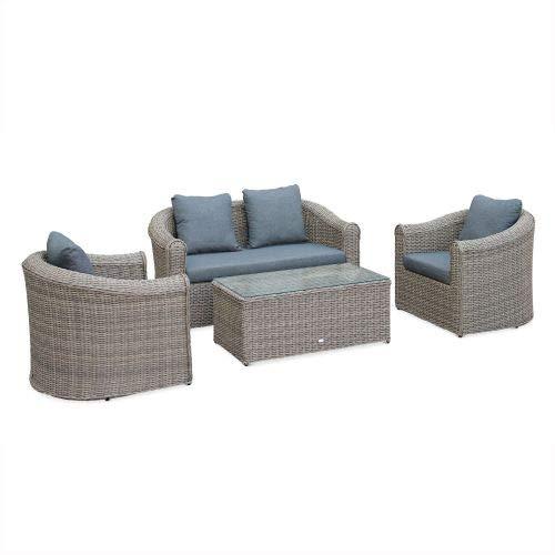 Salon de Jardin en résine tressée Arrondie 4 Places - Valentino Naturel - Coussins Anthracite, canapé fauteuils Table Basse