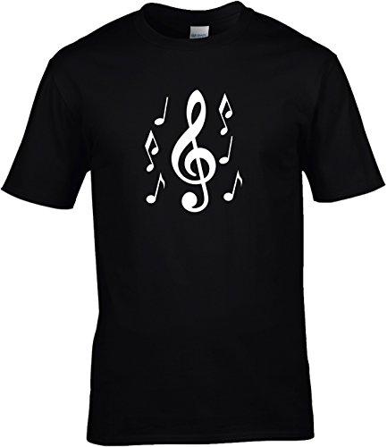 Fun Shirt Herren grosser Notenschlüssel mit Noten Musik love music Schwarz