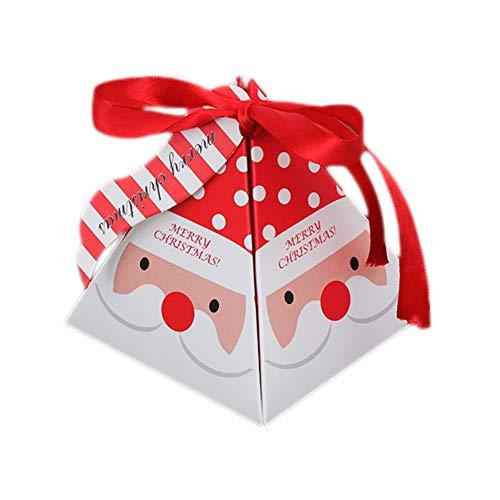 Qinlee 30x Weihnachten Süßigkeit-Kasten Schleife Faltbar Papier Candy Kekse Box Schachtel Weihnachts Geschenk Box Dekor für Festival Bankett Party (Santa Claus)