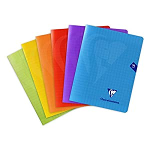 Clairefontaine exercise book Metric, checkered, not spiral bound, polypropylene cover, 17 x 22 cm, 6 pieces, assorted colors