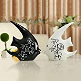 LuvBells Set of 2 Cute Black & White Love Fish Couple Ceramic Craft Supplies Animal Statue Sculptures Ornaments Fashion Home