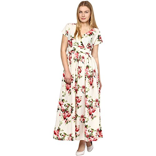 Bhama Women's Cream Coloured Printed Maxi Dress
