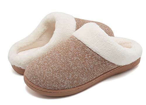 VIFUUR Frauen Winter Memory Foam Hausschuhe Kurze Plüsch Futter Anti-Rutsch-Sohle Slip On House Schuhe Indoor Outdoor Khaki 40/41