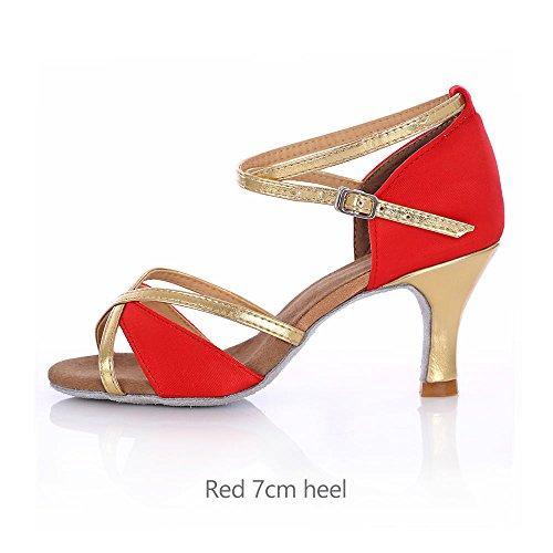 Yff Los Zapatos De Salón De Baile Latino Mujer Tango Salsa Mujer Mujer Rojo 7cm Talón