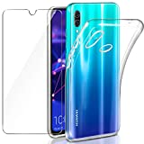 """Coque Huawei P Smart 2019 / Honor 10 Lite Transparente + Verre trempé Protecteur écran, Leathlux Souple Silicone Étui Protection Bumper Housse Clair TPU Gel Case Cover pour Huawei Honor 10 Lite 6.21"""""""