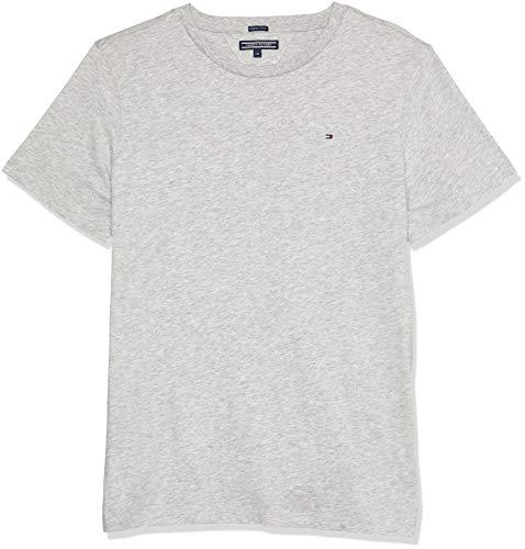 Tommy Hilfiger Jungen Boys Basic Cn Knit S/S T-Shirt, Grau (Grey Heather 004), 128 (Herstellergröße: 8)